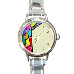Digitally Created Abstract Page Border With Copyspace Round Italian Charm Watch by Simbadda