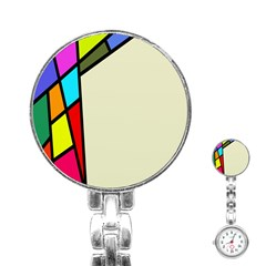 Digitally Created Abstract Page Border With Copyspace Stainless Steel Nurses Watch by Simbadda