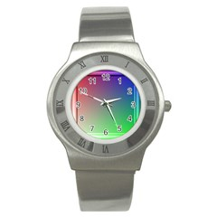 3d Rgb Glass Frame Stainless Steel Watch by Simbadda