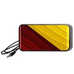 3d Glass Frame With Red Gold Fractal Background Portable Speaker (black) by Simbadda