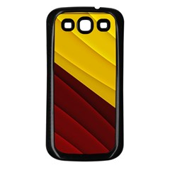 3d Glass Frame With Red Gold Fractal Background Samsung Galaxy S3 Back Case (black) by Simbadda