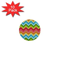 Colorful Background Of Chevrons Zigzag Pattern 1  Mini Buttons (10 Pack)  by Simbadda