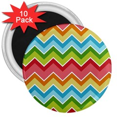 Colorful Background Of Chevrons Zigzag Pattern 3  Magnets (10 Pack)  by Simbadda