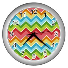 Colorful Background Of Chevrons Zigzag Pattern Wall Clocks (silver)  by Simbadda