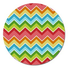 Colorful Background Of Chevrons Zigzag Pattern Magnet 5  (round) by Simbadda