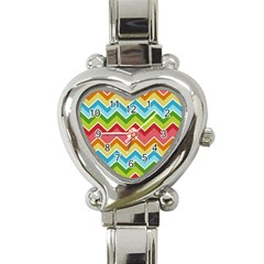 Colorful Background Of Chevrons Zigzag Pattern Heart Italian Charm Watch by Simbadda