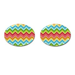 Colorful Background Of Chevrons Zigzag Pattern Cufflinks (oval) by Simbadda
