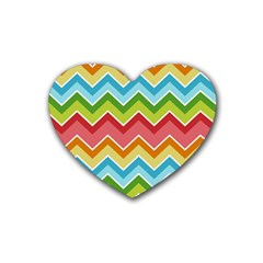 Colorful Background Of Chevrons Zigzag Pattern Rubber Coaster (heart)  by Simbadda