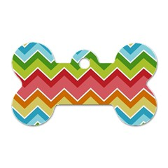 Colorful Background Of Chevrons Zigzag Pattern Dog Tag Bone (two Sides) by Simbadda