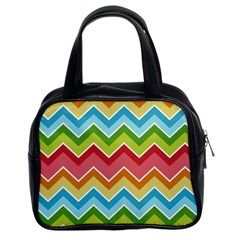 Colorful Background Of Chevrons Zigzag Pattern Classic Handbags (2 Sides) by Simbadda