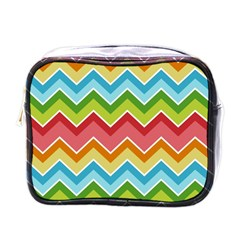 Colorful Background Of Chevrons Zigzag Pattern Mini Toiletries Bags by Simbadda