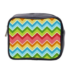 Colorful Background Of Chevrons Zigzag Pattern Mini Toiletries Bag 2 Side by Simbadda