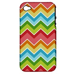 Colorful Background Of Chevrons Zigzag Pattern Apple Iphone 4/4s Hardshell Case (pc+silicone) by Simbadda