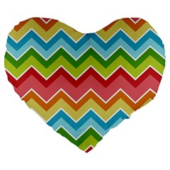 Colorful Background Of Chevrons Zigzag Pattern Large 19  Premium Heart Shape Cushions by Simbadda