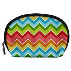 Colorful Background Of Chevrons Zigzag Pattern Accessory Pouches (large)  by Simbadda