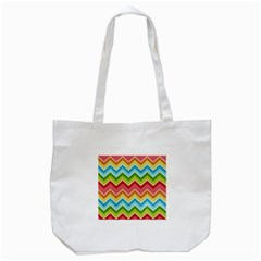 Colorful Background Of Chevrons Zigzag Pattern Tote Bag (white) by Simbadda