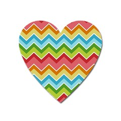 Colorful Background Of Chevrons Zigzag Pattern Heart Magnet by Simbadda