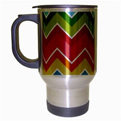 Colorful Background Of Chevrons Zigzag Pattern Travel Mug (silver Gray) by Simbadda