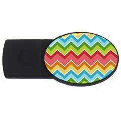 Colorful Background Of Chevrons Zigzag Pattern Usb Flash Drive Oval (4 Gb) by Simbadda