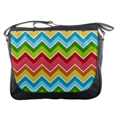 Colorful Background Of Chevrons Zigzag Pattern Messenger Bags by Simbadda