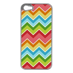 Colorful Background Of Chevrons Zigzag Pattern Apple Iphone 5 Case (silver) by Simbadda