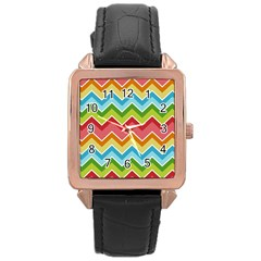 Colorful Background Of Chevrons Zigzag Pattern Rose Gold Leather Watch  by Simbadda