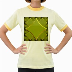 Fractal Green Diamonds Background Women s Fitted Ringer T Shirts by Simbadda