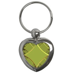 Fractal Green Diamonds Background Key Chains (heart)  by Simbadda
