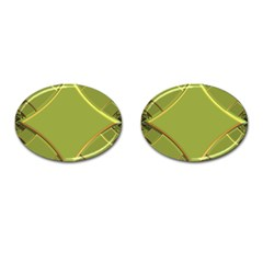 Fractal Green Diamonds Background Cufflinks (oval) by Simbadda