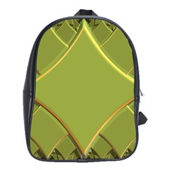 Fractal Green Diamonds Background School Bags(large)  by Simbadda
