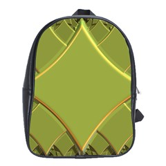 Fractal Green Diamonds Background School Bags (xl)  by Simbadda