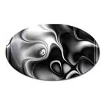 Fractal Black Liquid Art In 3d Glass Frame Oval Magnet Front