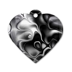 Fractal Black Liquid Art In 3d Glass Frame Dog Tag Heart (one Side) by Simbadda