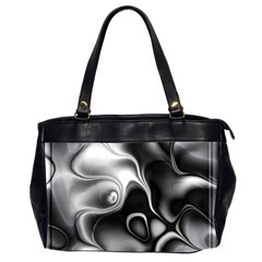 Fractal Black Liquid Art In 3d Glass Frame Office Handbags (2 Sides)
