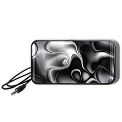 Fractal Black Liquid Art In 3d Glass Frame Portable Speaker (black) by Simbadda