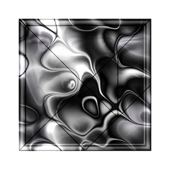 Fractal Black Liquid Art In 3d Glass Frame Acrylic Tangram Puzzle (6  X 6 ) by Simbadda