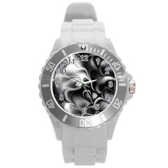 Fractal Black Liquid Art In 3d Glass Frame Round Plastic Sport Watch (l) by Simbadda