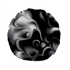 Fractal Black Liquid Art In 3d Glass Frame Standard 15  Premium Round Cushions by Simbadda
