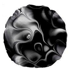 Fractal Black Liquid Art In 3d Glass Frame Large 18  Premium Round Cushions by Simbadda