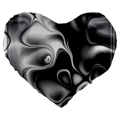 Fractal Black Liquid Art In 3d Glass Frame Large 19  Premium Heart Shape Cushions by Simbadda