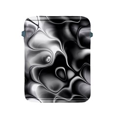 Fractal Black Liquid Art In 3d Glass Frame Apple Ipad 2/3/4 Protective Soft Cases by Simbadda