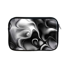 Fractal Black Liquid Art In 3d Glass Frame Apple Ipad Mini Zipper Cases by Simbadda