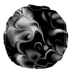 Fractal Black Liquid Art In 3d Glass Frame Large 18  Premium Flano Round Cushions by Simbadda