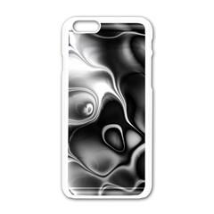 Fractal Black Liquid Art In 3d Glass Frame Apple Iphone 6/6s White Enamel Case by Simbadda