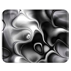 Fractal Black Liquid Art In 3d Glass Frame Double Sided Flano Blanket (medium)  by Simbadda
