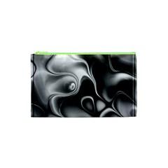 Fractal Black Liquid Art In 3d Glass Frame Cosmetic Bag (xs) by Simbadda