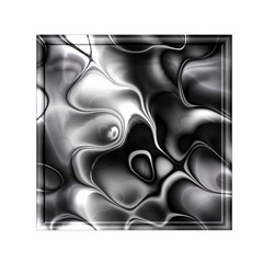 Fractal Black Liquid Art In 3d Glass Frame Small Satin Scarf (square) by Simbadda