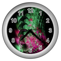 Pink And Green Shapes Make A Pretty Fractal Image Wall Clocks (silver)  by Simbadda