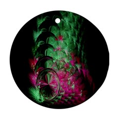 Pink And Green Shapes Make A Pretty Fractal Image Round Ornament (two Sides) by Simbadda
