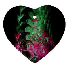 Pink And Green Shapes Make A Pretty Fractal Image Heart Ornament (two Sides) by Simbadda